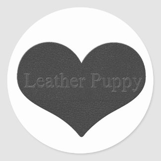 Leather Puppy Round Sticker