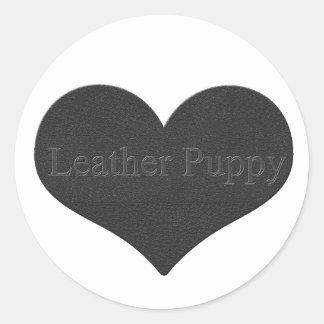 Leather Puppy Classic Round Sticker