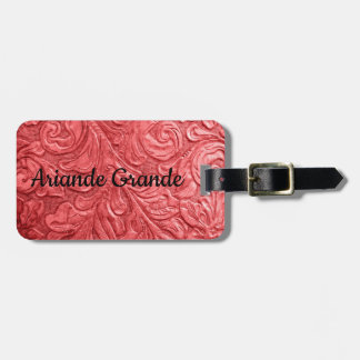 Leather Red Embossed Luggage Tag