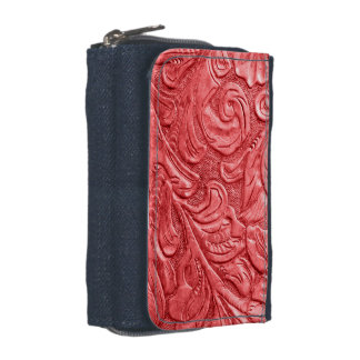 Leather Red Embossed Wallet