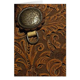 Leather Saddle Blank Greeting Card