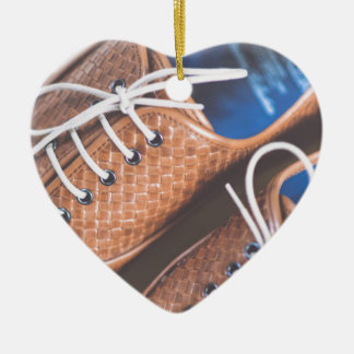 Leather Snakeskin Brown shoes Christmas Ornament