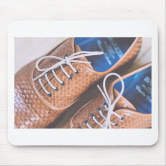 Leather Snakeskin Brown shoes Mouse Mat