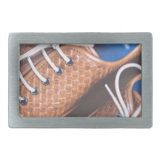 Leather Snakeskin Brown shoes Rectangular Belt Buckle