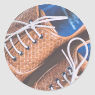 Leather Snakeskin Brown shoes Round Sticker