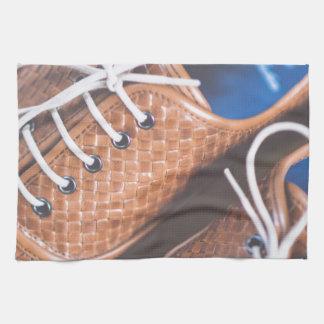 Leather Snakeskin Brown shoes Tea Towel