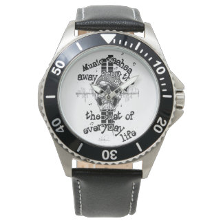 Leather & Stainless Skull Music Watch
