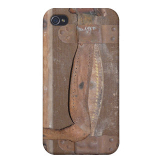 Leather Strap on Antique Trunk Cover For iPhone 4