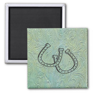 Leather Tool Print Design Horseshoes Fridge Magnet