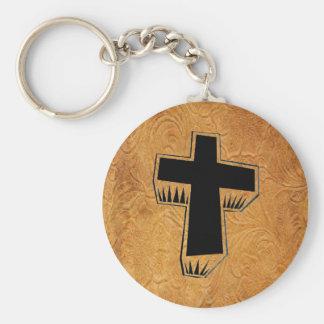 Leather Tool Print Design W/Cross Keychain