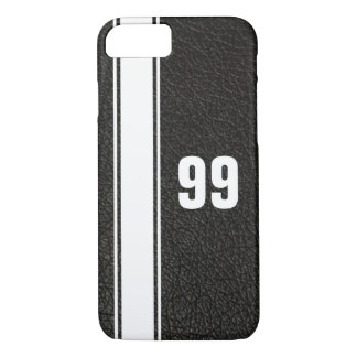 Leather & White Stripe Jersey Numbered iPhone Case