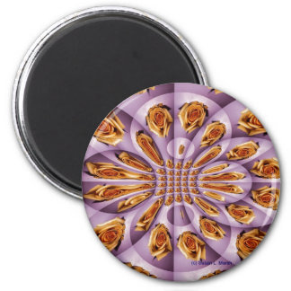 Leather Yellow Purple Rose Pattern 6 Cm Round Magnet