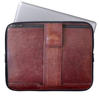 Leather Zipped Pocket Effect Neoprene Laptop Cover Computer Sleeves