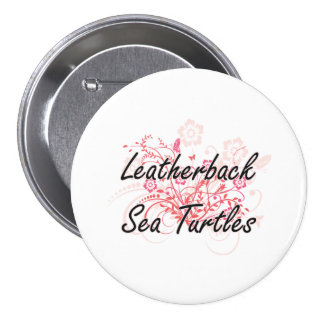 Leatherback Sea Turtles with flowers background 7.5 Cm Round Badge
