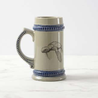 Leatherback Turtle Swimming Beer Stein