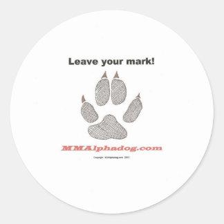 leave mark round sticker