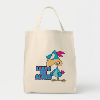 leave me alone grumpy silly bird canvas bag