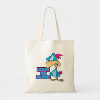 leave me alone grumpy silly bird budget tote bag