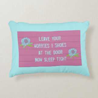 Leave worries sleep tight floral decorative decorative cushion