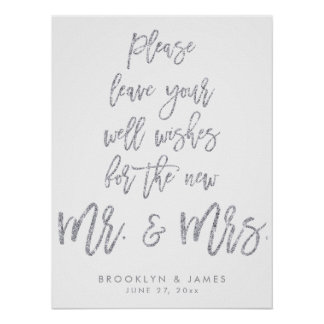 Leave Your Well Wishes Wedding Sign Silver Glitter Poster
