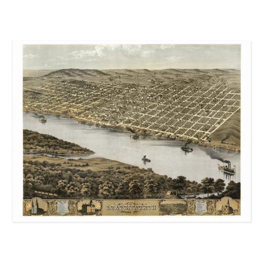 Leavenworth Kansas - Historic Map Postcard