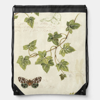 Leaves and a Butterfly Drawstring Bag