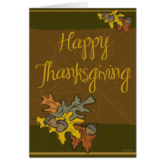 Leaves and Acorns Thanksgiving Card Cards