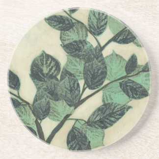 Leaves and Branches on Cream Background Coaster