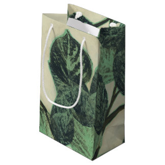 Leaves and Branches on Cream Background Small Gift Bag