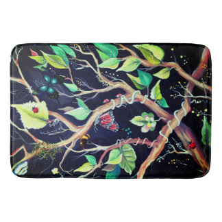 Leaves and butterflies painting bath mat