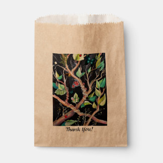 Leaves and butterflies painting favour bags
