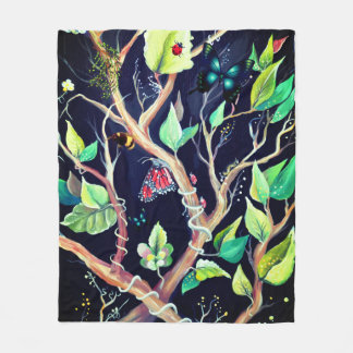 Leaves and butterflies painting fleece blanket