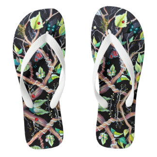 Leaves and butterflies painting flip flops
