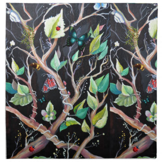Leaves and butterflies painting napkin