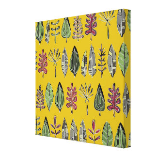 leaves and feathers saffron canvas print