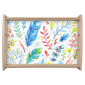 Leaves and Feathers Watercolor serving tray