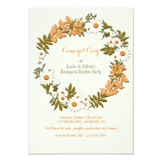 Leaves and Flowers Wreath Invitation
