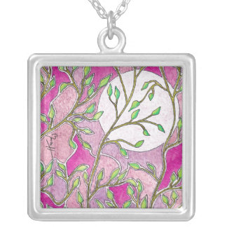 Leaves and Moon - Pink Watercolors Silver Plated Necklace