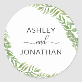 Leaves Botanical Wreath Wedding White Labels Seals