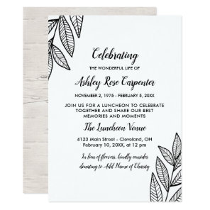 Leaves & Calligraphy Celebration of Life Memorial Invitation