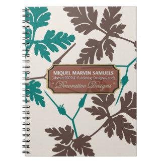 Leaves Decorated Cream Designer Modern Notebook