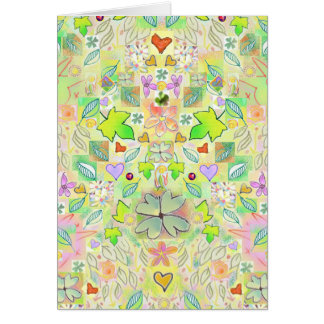 Leaves, Flowers, Hearts, Clover Luck Greeting Card