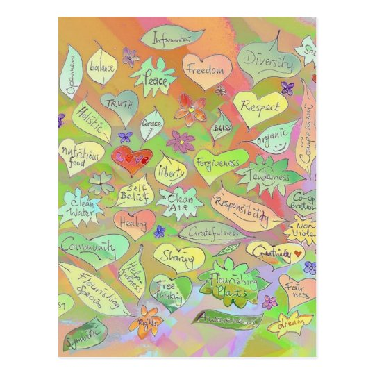 Leaves, Flowers, Hearts / Conscious Words Postcard