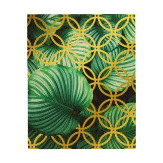 Leaves Geometric Modern Illustration Wood Print