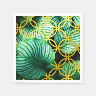 Leaves Geometric Tropical Modern Illustration Paper Napkin