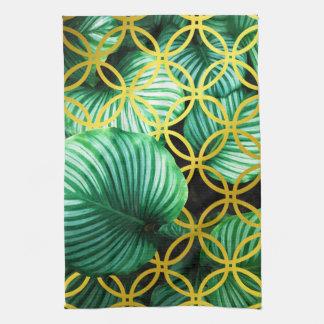 Leaves Geometric Tropical Modern Illustration Tea Towel