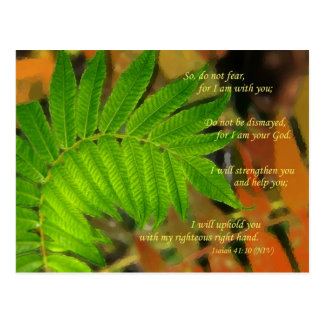 leaves image with Isaiah 41:10 verse Postcard