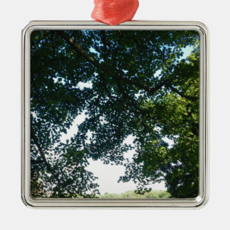 Leaves in Sunshine Silver-Colored Square Decoration
