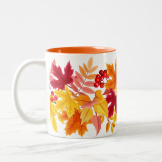 Leaves in the wind Two-Tone coffee mug