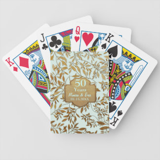 Leaves of Gold 50th Wedding Anniversary Bicycle Playing Cards